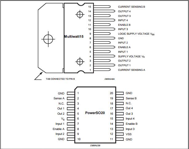 Common Integrated Circuits L298n Circuit Dual Full Bridge Driver