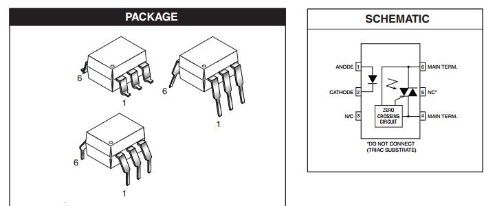 600 V TRIAC Driver IL410 Optocoupler PKG of 2 Zero Crossing PDIP-6