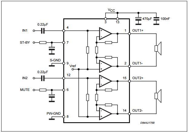7w 7w Dual Bridge Amplifier Integrated Circuit Chip Tda7266sa