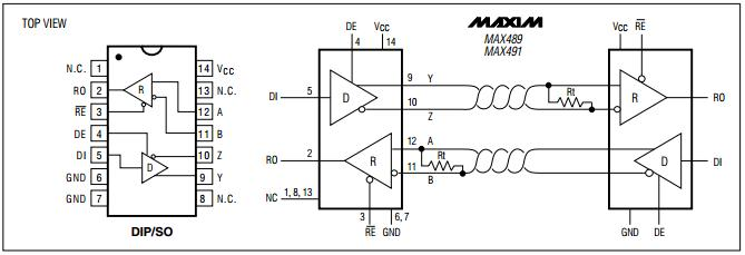 MAX489CPD Integrated Circuit Chip Low-Power Slew Rate Limited RS-485/RS-422 Transceivers