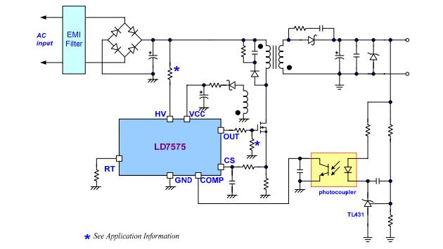 LD7575PS Integrated Circuit Chip Green-Mode PWM Controller with