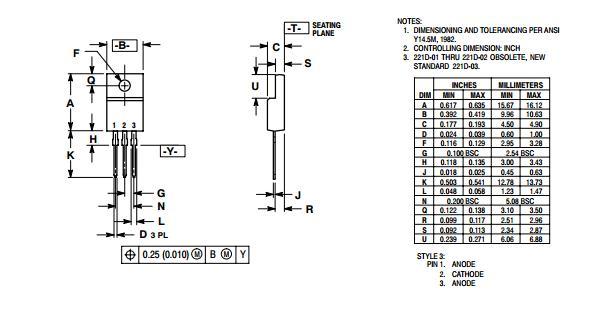 mbrf20100ctg rectifier diode schottky bridge rectifier