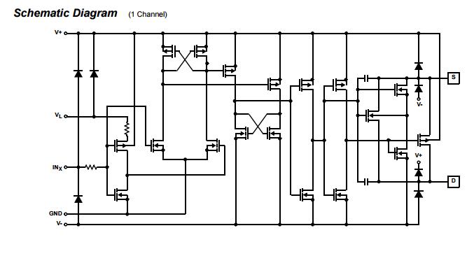 dg412djz monolithic quad spst integrated circuit chip