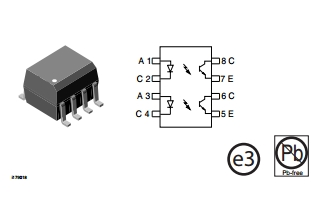 ILD205T Optocoupler, Phototransistor Output, Dual Channel, SOIC-8 package